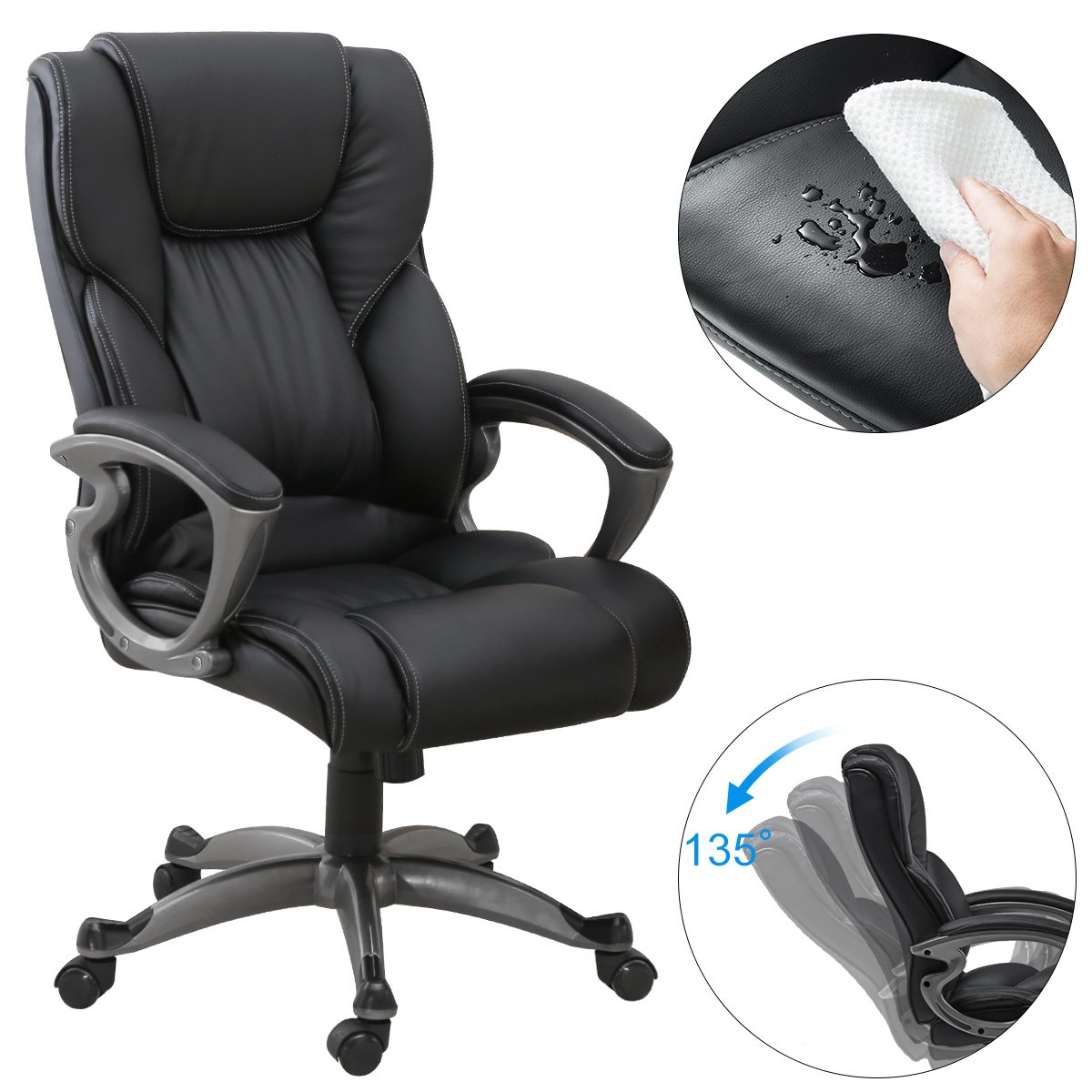 YAMASORO Leather Office Chair High Back Computer Gaming Desk Chair Executive Ergonomic Lumbar Support Black