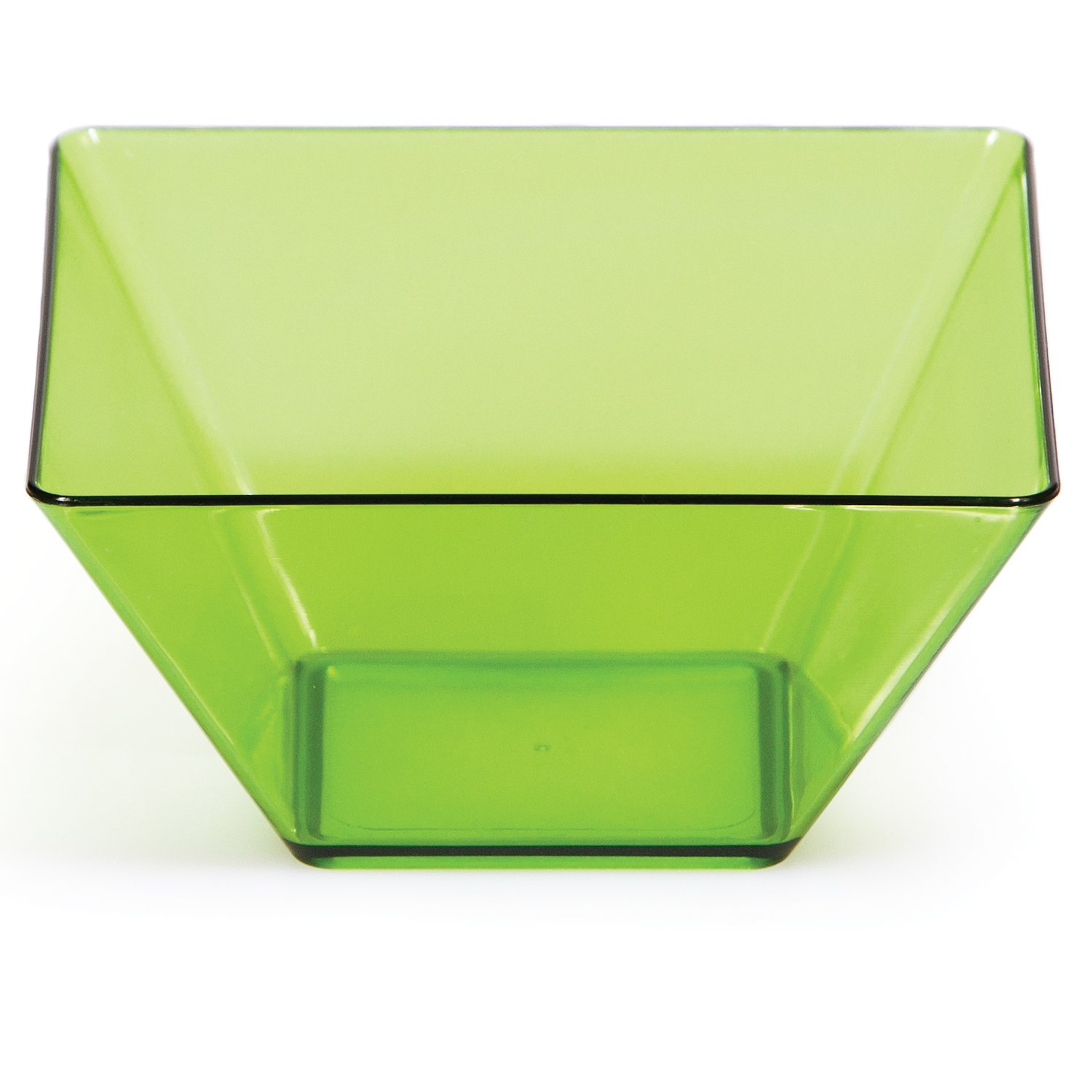 Creative Converting 8 Count 3.5-Inch Square Plastic Bowls, Mini, Translucent Green