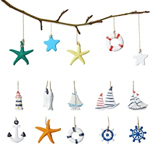 15 Pieces Nautical Hanging Decoration Mini Beach Marine Ornament Set Wooden Starfish Boat Anchor Lighthouse Helm Sailboat Life Ring Buoys Fishes Home Mini Fishing Net Accessories Beach Coastal Decor