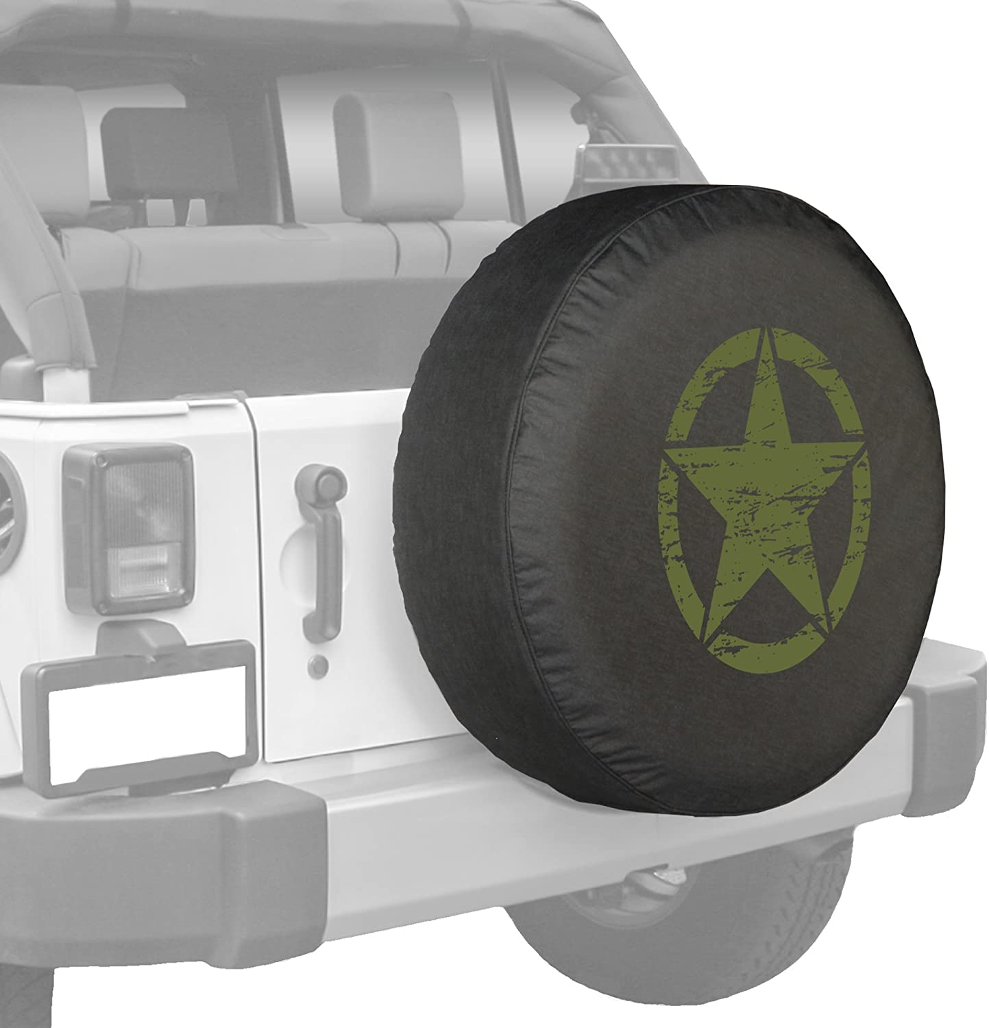 Jeep Tire Cover for Spare Tire Oscar Mike Jeep Military Star Black 32 Inch