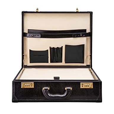 83cacc46cfd06 Maxwell Scott Classic Traditional Elegant Luxury Black Handcrafted Genuine  Leather Attache Case (The Buroni)
