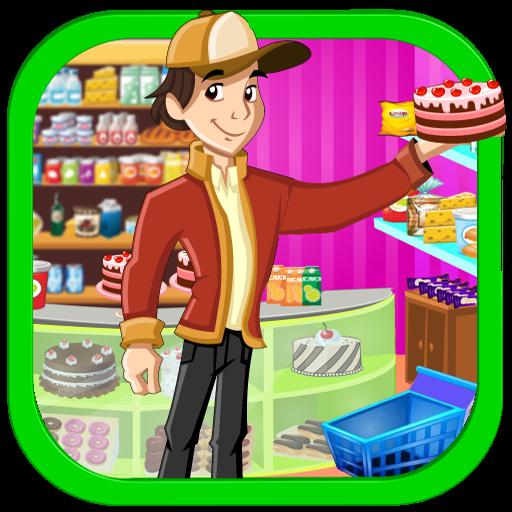 Supermarket boy party shopping -