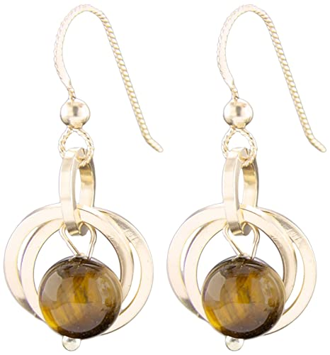 14k Yellow Gold Toger Eye Dangling Earrings