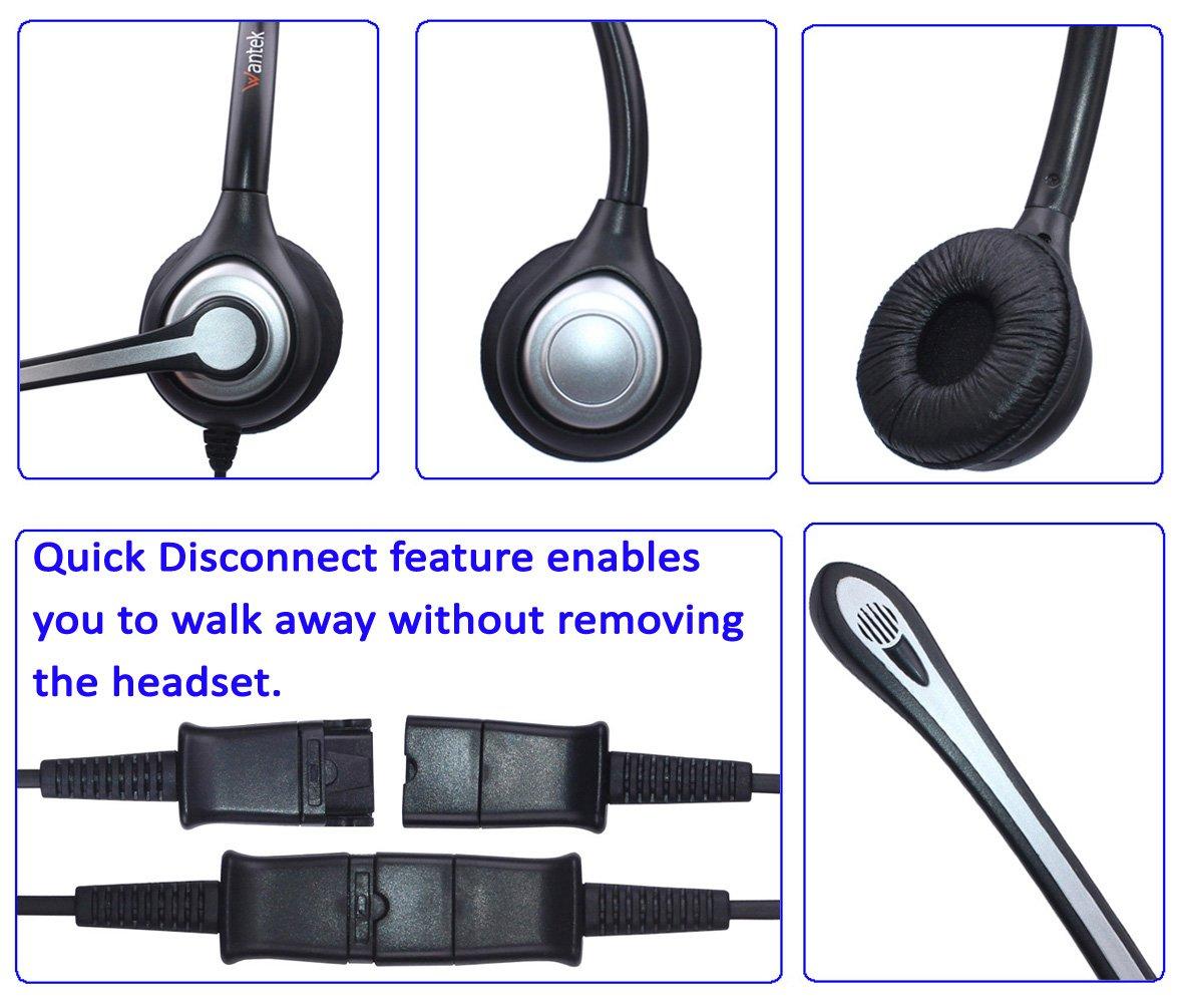 Quick Disconnect for Avaya Aastra Allworx Adtran Alcatel Lucent AltiGen Comdial Digium Mitel Plantronics Landline Deskphones Wantek Corded Telephone Headset Mono w//Noise Canceling Mic 600QS1