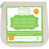The Amazing Organic Cotton Nut Milk Bag W/ Food Grade Cheesecloth by Things&Thoughts | Eco Friendly Reusable Strainer for Almond Milk, Cheese Making, Juicing, Sprouting, Yogurt, Cold Brew Coffee & Tea