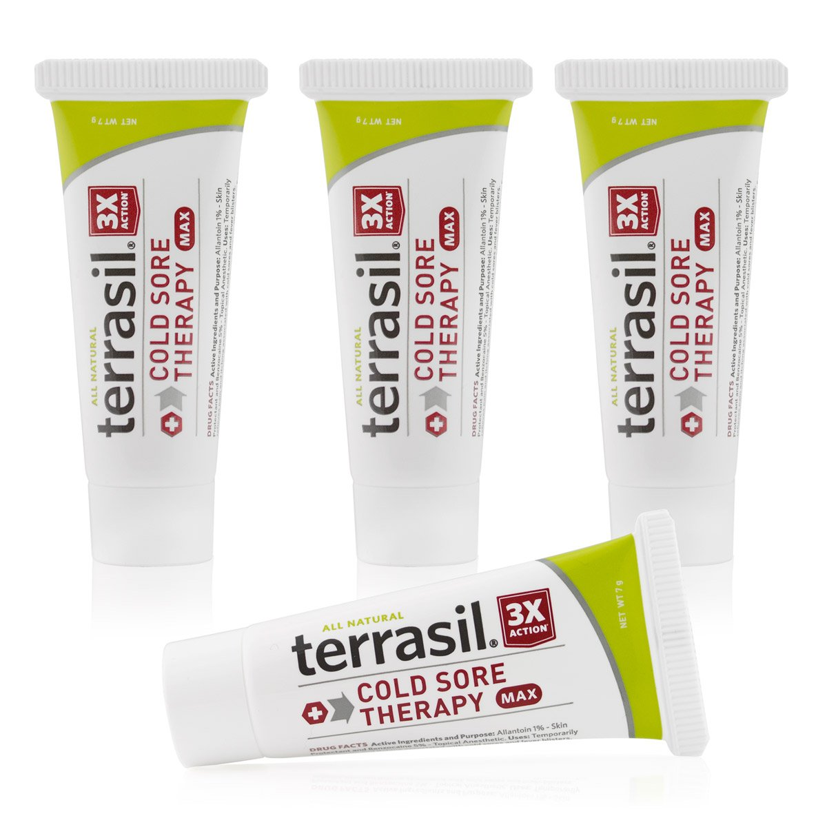 Cold Sore Treatment Maximum Strength- Speeds Healing and Stops Pain Fast All Natural for Fever Blister and Lesions from Cold Sores by Terrasil (7g tube 4 pack)
