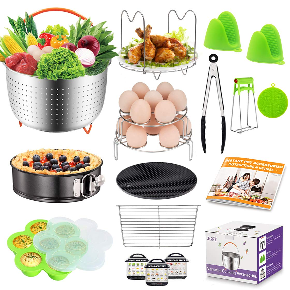 18 Pcs Pot Accessories Compatible with Instant Pot Accessories 6,8 qt, Ninja Foodi 8 qt, Steamer Basket, Springform Pan, Stackable Egg Steamer Rack, Egg Bites Mold, Recipes and More Cooker Accessories by JGSY