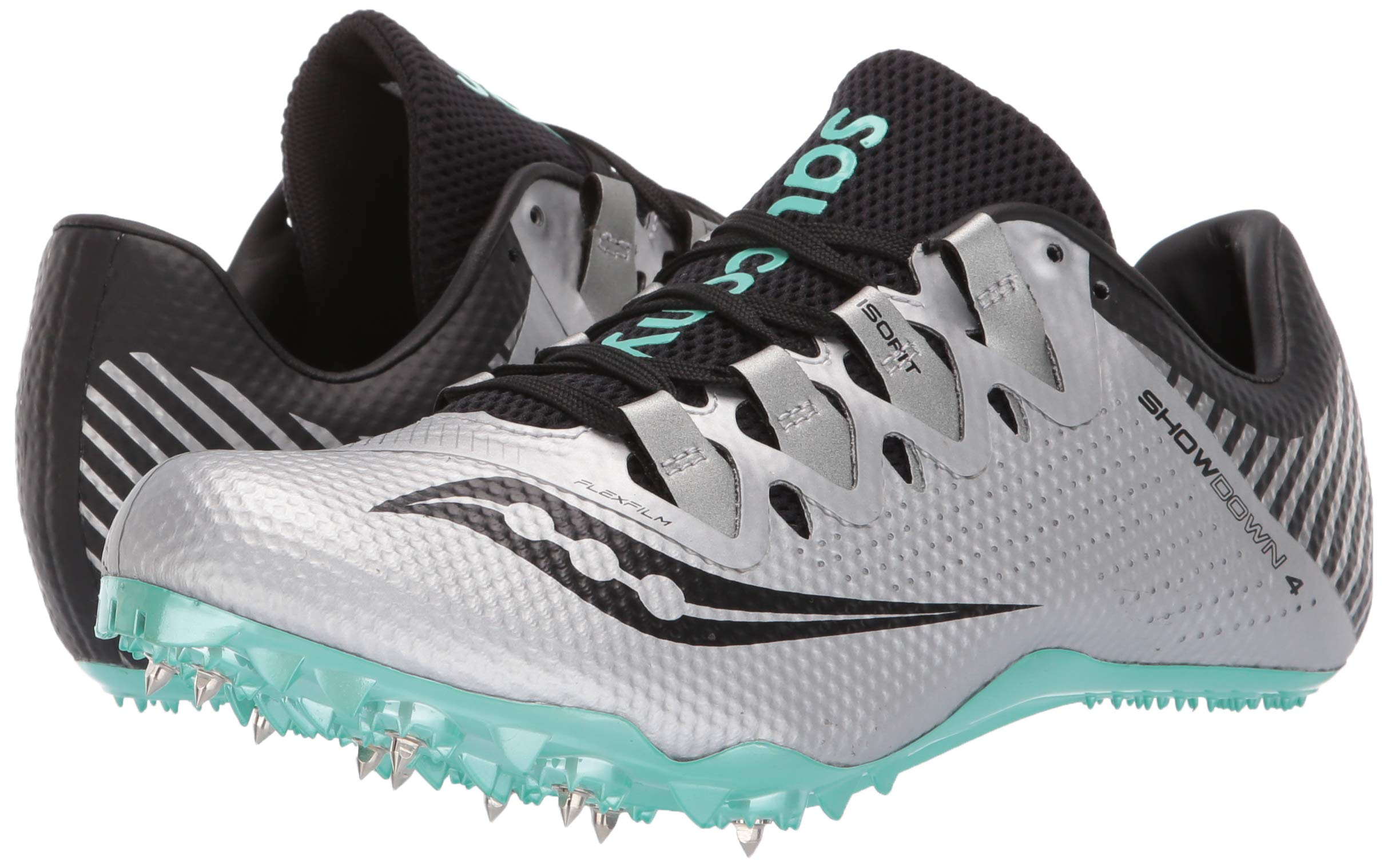 Saucony Women's Showdown 4 Track Shoe, Silver/Teal, 5 Medium US by Saucony (Image #6)