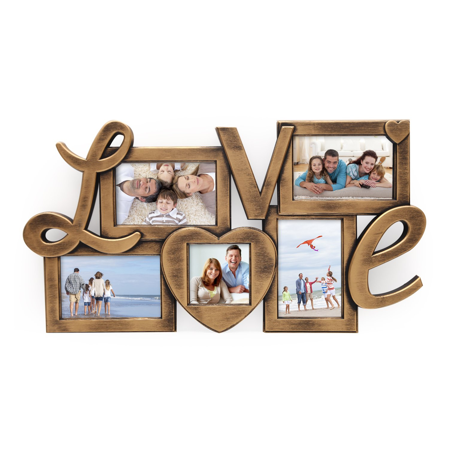 Deco De Ville 5 Opening ''LOVE'' Theme Plastic Decorative Antique Golden Puzzle Collage Picture Photo Frame, Wall Hanging, Gold