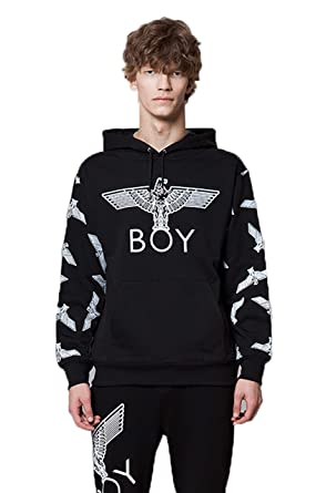e24c5bc55336 Amazon.com  BOY LONDON Eagle Patterned on Sleeves Hoodie - Black ...