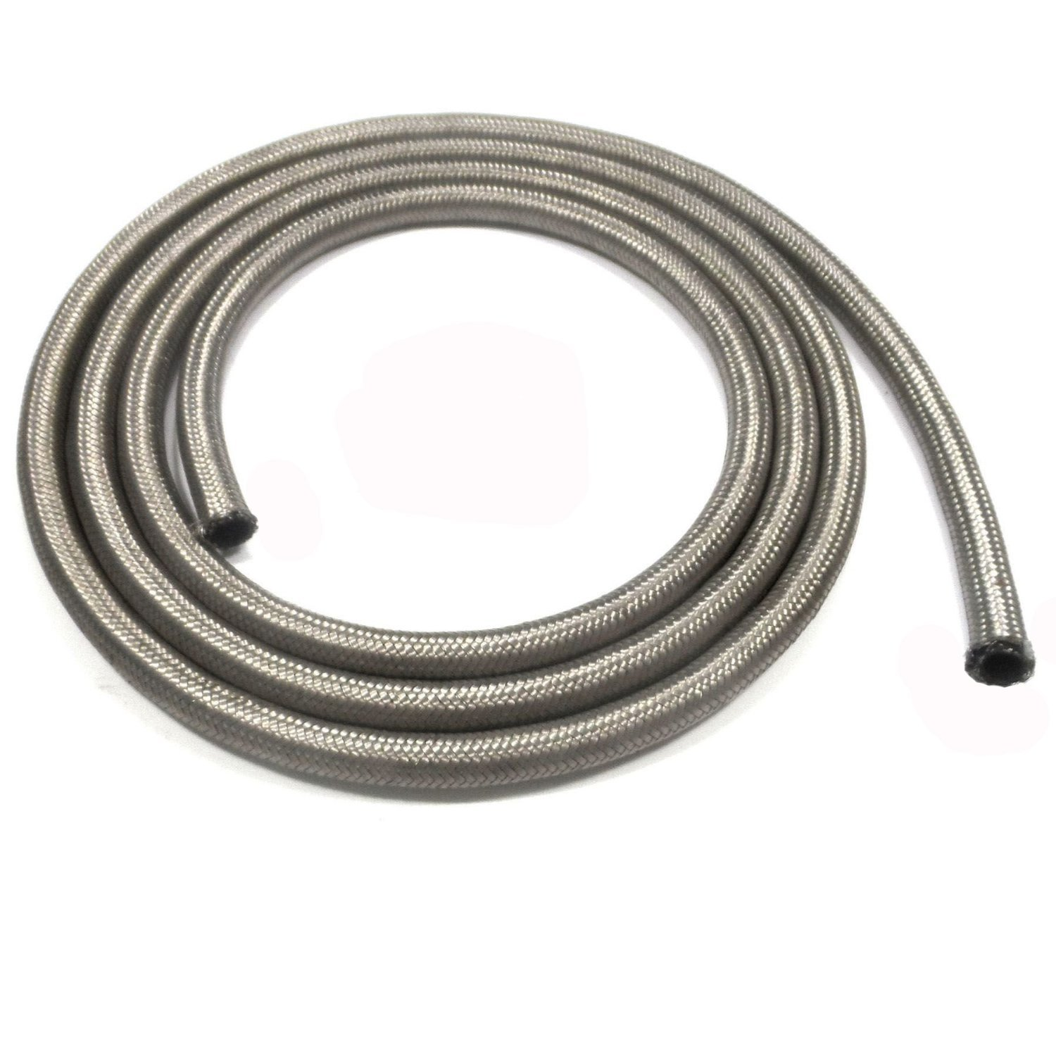 Stainless Steel Braided Fuel Line Hose 10FEET (AN6, Silver)