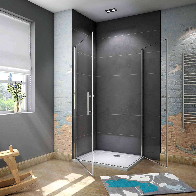 Mamparas de Ducha Doble Puerta Abatible 180°6mm Antical 100x90x195cm: Amazon.es: Bricolaje y herramientas