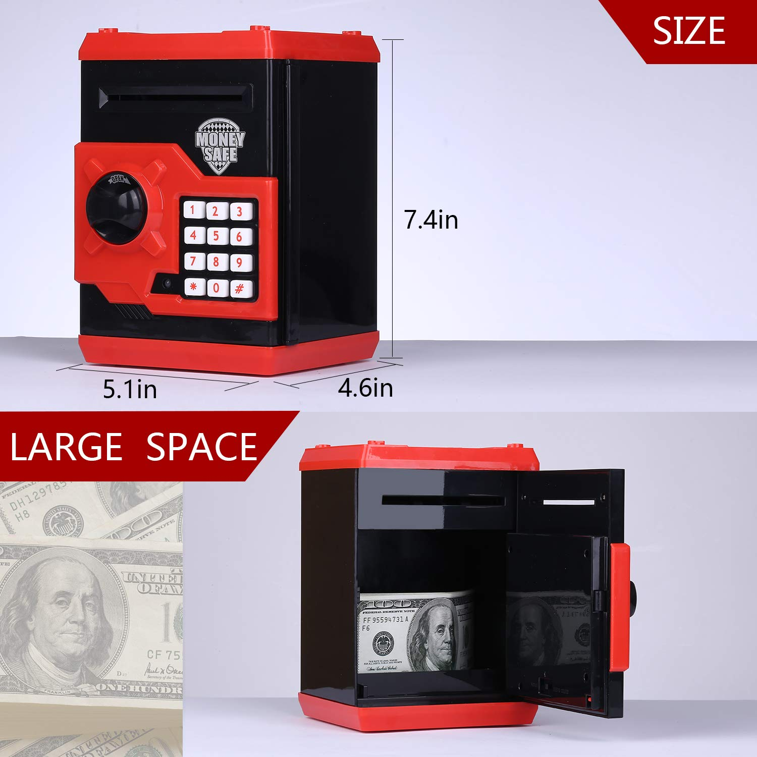 kingsida Electronic Password Piggy Bank Kids Safe Bank Mini ATM Electronic Money Save Box Cash Coin Can(Black and Red) by kingsida (Image #4)