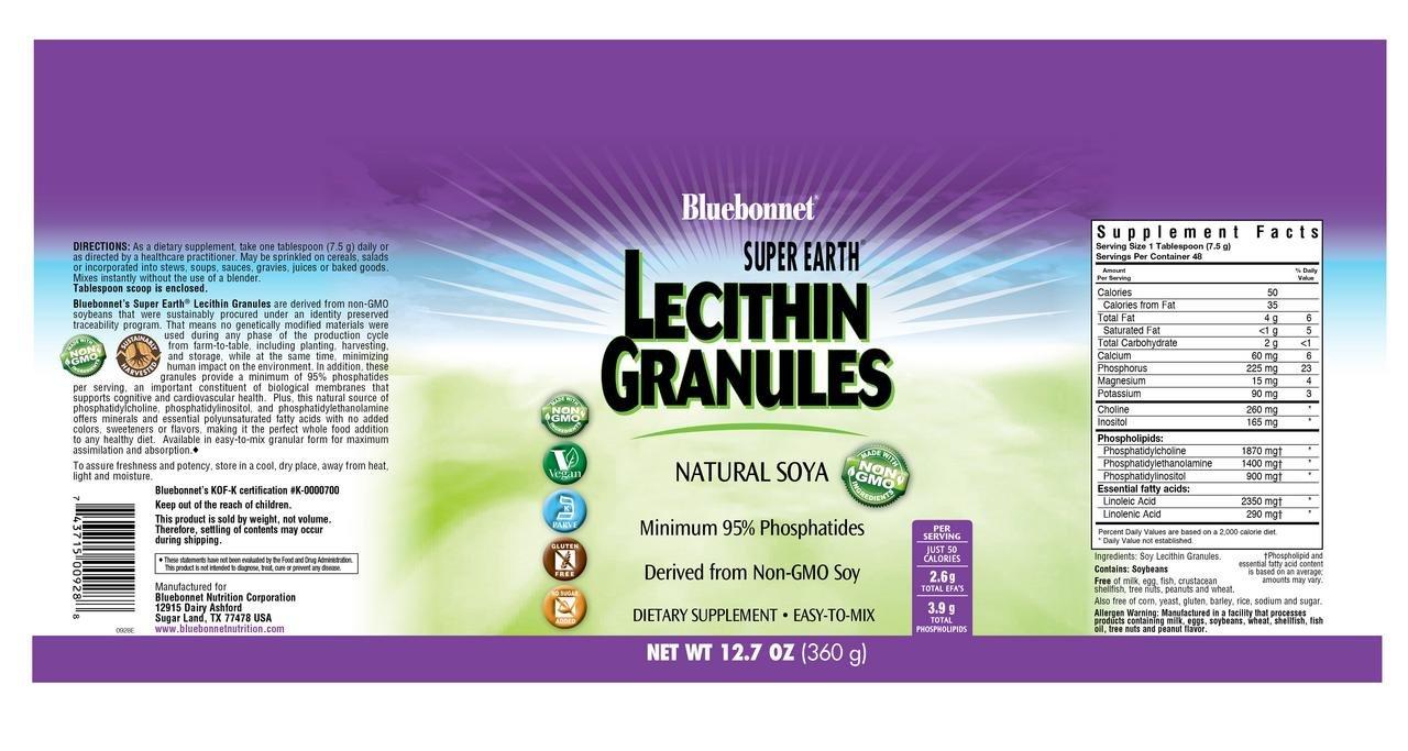 Bluebonnet Nutrition Super Earth Non-GMO Lecithin Granules by Bluebonnet