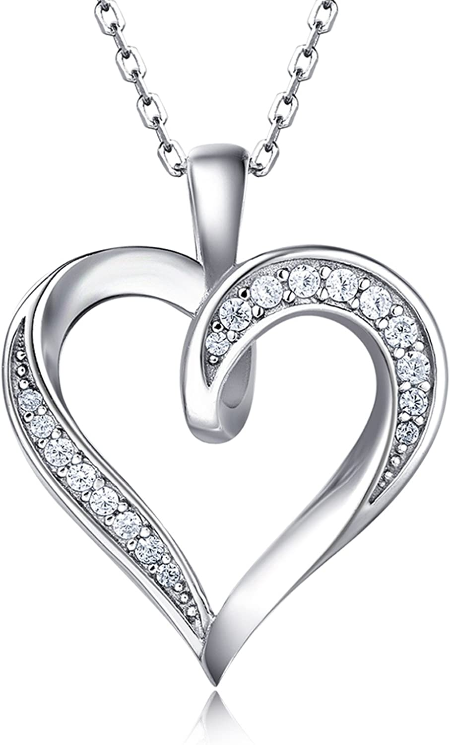 "Billie Bijoux 925 Sterling Silver Infinity Love Heart Necklace Platinum Plated Round CZ Diamond Fine Woman's jewelry 18"" Mother's Day"