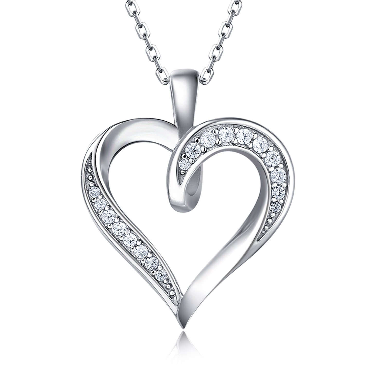 Billie Bijoux 925 Sterling Silver Infinity Love Heart Necklace Platinum Plated Round CZ Diamond Fine Woman's jewelry 18'' Mother's Day by Billie Bijoux