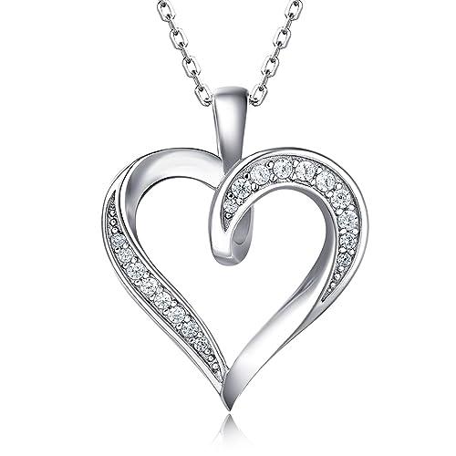 29aee216ef Amazon.com: Billie Bijoux 925 Sterling Silver Infinity Love Heart Necklace  Platinum Plated Round CZ Diamond Fine Woman's jewelry 18