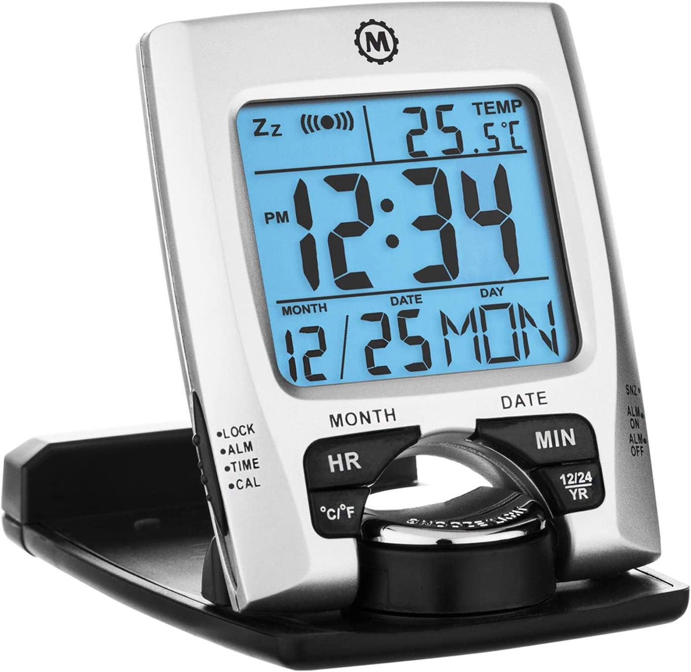 Marathon CL030023 Travel Alarm Clock with Calendar & Temperature - Battery Included (Silver)