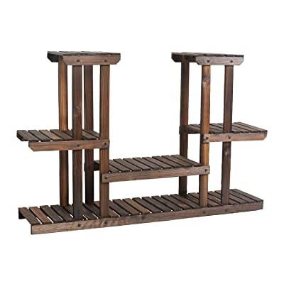 eclife Wooden Plant Stands 4 Tier Multifunctional Bamboo Plant Flower Stand Rack Bookrack Storage Shelves (PG-S05) : Garden & Outdoor