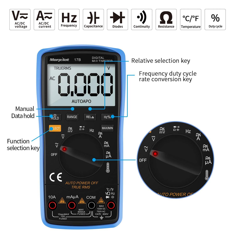 Multimetro Digitale TRMS 6000 Conti Ohmetri Auto Misurazione Professionale Display LCD 3 Pollici Retroilluminante,Tester Precisi per Tensione AC//DC Volt Ampere Resistenza Temperatura Set di 10 Cavi
