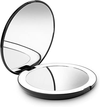 Fancii Led Lighted Travel Makeup Mirror 1x 10x Magnification Daylight Led Compact Portable Large 127mm Wide Illuminated Mirror Black Lumi Amazon Co Uk Beauty