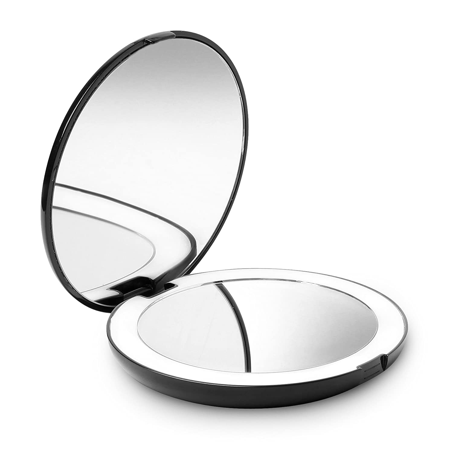Fancii LED Lighted Travel Makeup Mirror, 1x 10x Magnification – Daylight LED, Compact, Portable, Large 5 Wide Illuminated Folding Mirror
