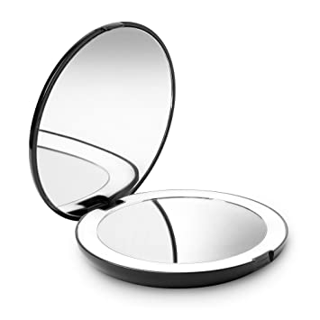 Fancii LED Lighted Travel Makeup Mirror, 1x/10x Magnification   Daylight LED,  Compact