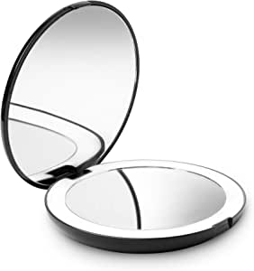 Fancii LED Compact Makeup Mirror for Handbag, 1X/10X Magnifying - Natural Daylight LED, Travel Size, Portable, 127mm Wide Illuminated Mirror (Lumi) (Midnight Black)
