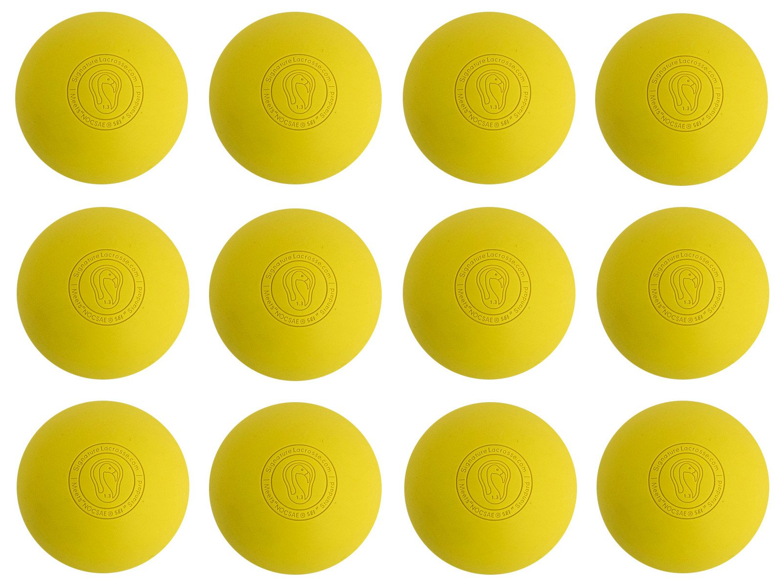 Signature Lacrosse Ball (12-Ball) Yellow NOCSAE & SEI Approved Yellow-12P