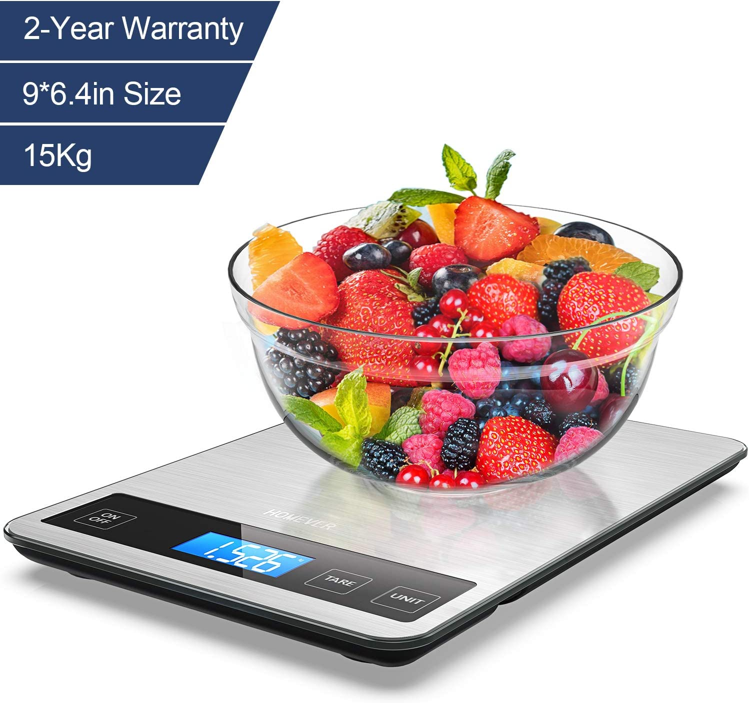 Food Scale, HOMEVER Food Scales Digital Weight grams and oz,15kg Digital Food Scale with 96.3 in Big Panel, 1g Accuracy and IP67 Waterproof