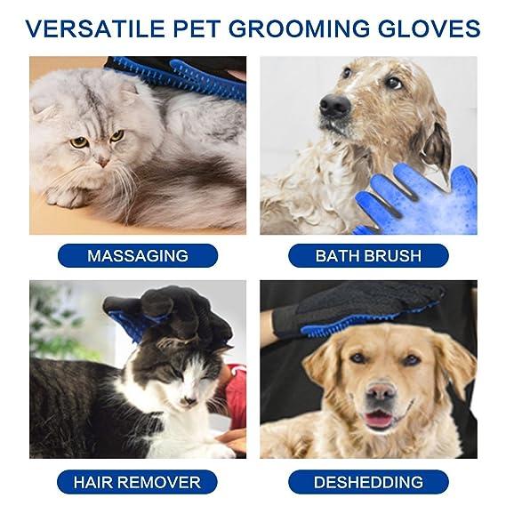 FunRun Guantes Manopla Peinador de Mascotas, Guante cepillo para eliminar pelo, guante para limpieza suave y eficiente para asear mascotas, ...