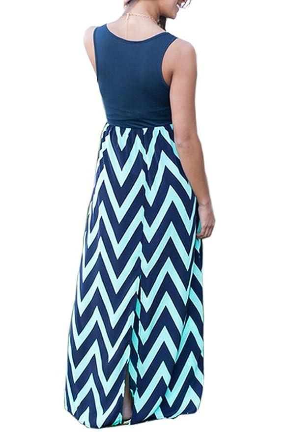 Women Dress, Lananas 2018 New Holiday Wave Pattern Sleeveless O-Neck Splicing Long Dress at Amazon Womens Clothing store: