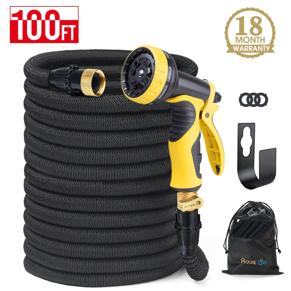 HOUSE DAY Expandable Garden Water Hose With 9-Way Spray Nozzle, Solid Brass Connectors,Heavy Duty Magic Water Hose,(100FT,Black),Hose Hanger by HOUSE DAY