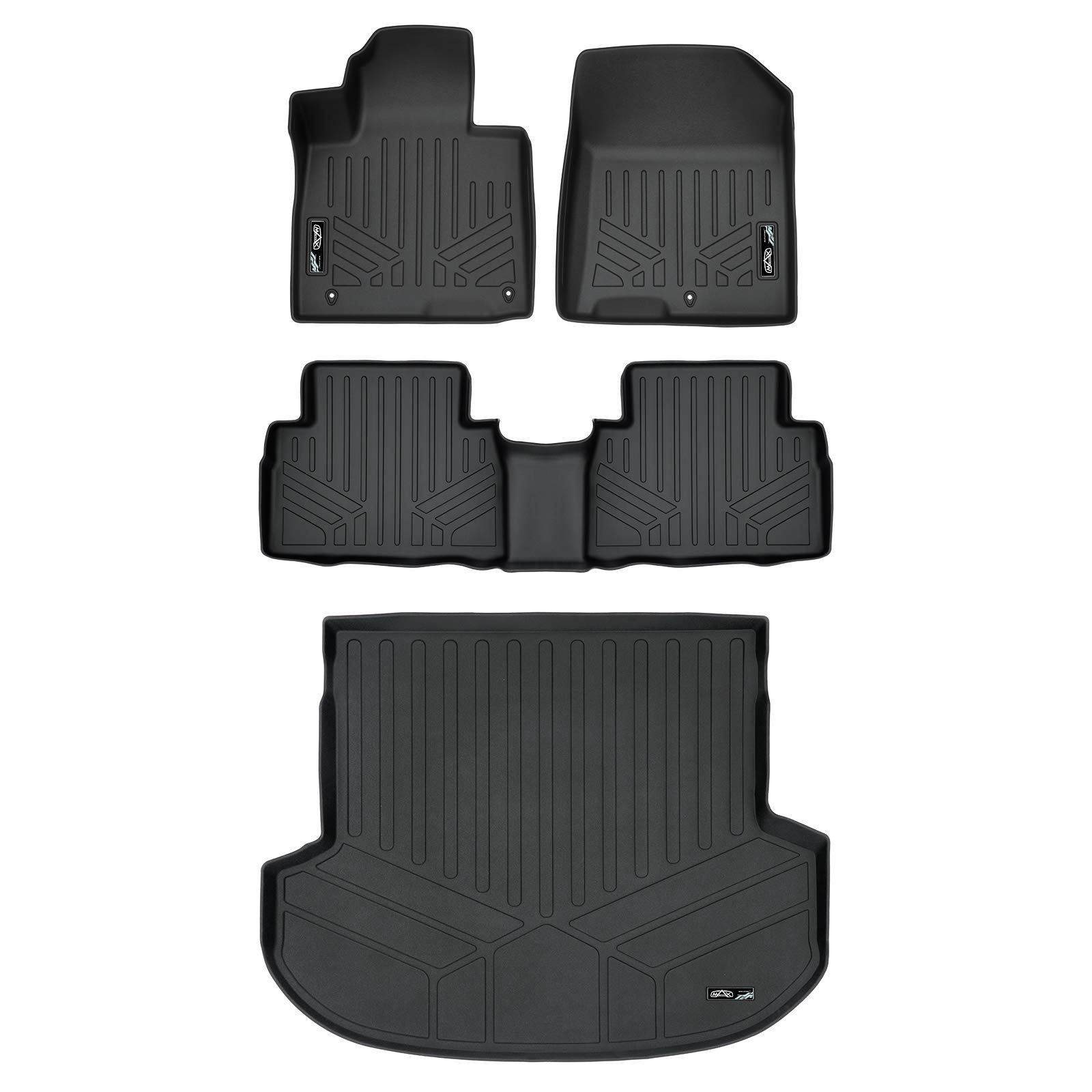 MAX LINER A0411/B0411/D0411 Custom Fit Floor Mats 2 Rows and Cargo Liner Trunk Set Black for 2019 Hyundai Santa Fe 5 Passenger Models