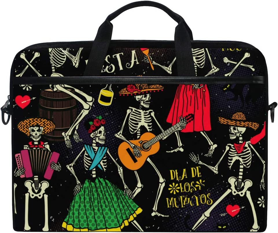 "SLHFPX Laptop Bag Sugar Skull Music 14"" 15"" Laptop Case Notebook Briefcase Tablet Handbag Sleeve Computer Backpack with Shoulder Strap Handle for Men Women Travel Business School"