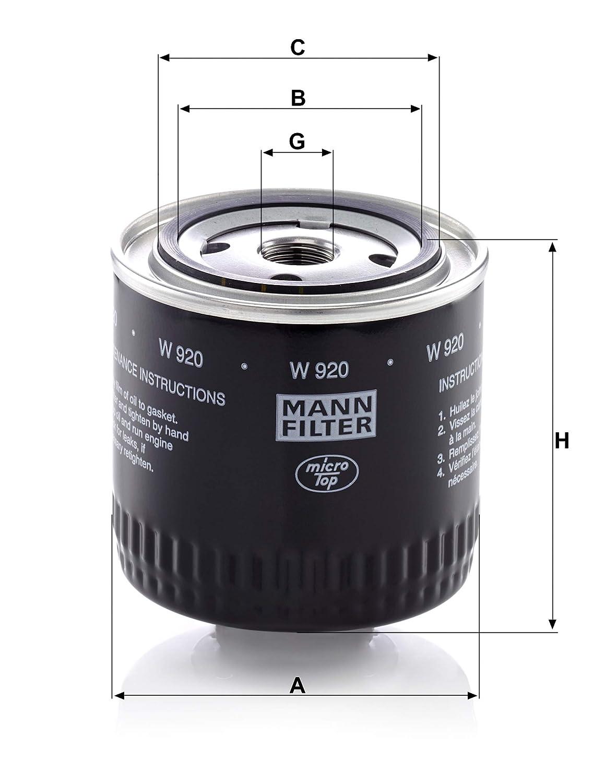 Pour v/éhicules utilitaires Original MANN-FILTER Filtre /à huile W 920 Filtre hydraulique appropri/é pour bo/îtes hydrauliques