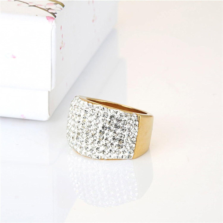 AMDXD Women Titanium Steel Rings Wedding Ring Wedding Band Rings with Cubic Zirconia