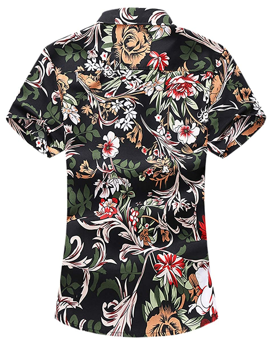 Mioubeila Mens Short Sleeve Floral Shirts