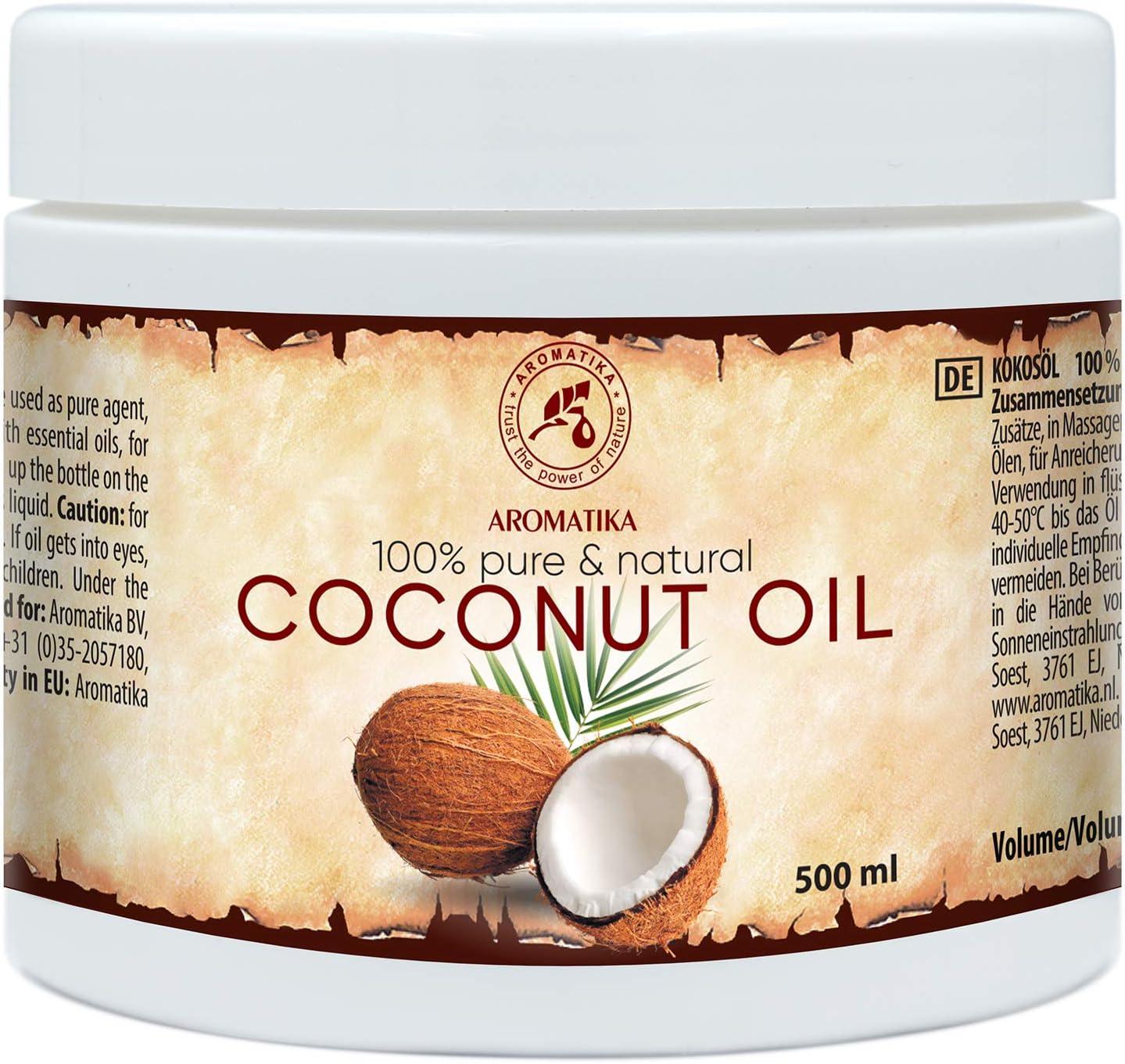 Aceite de Coco 500ml - Coco Nucifera - Indonesia - 100% Puro y Natural - Prensado en Frío - Mejores Beneficios para Cuidado del Cuerpo - Piel - Aceites Sin Refinar