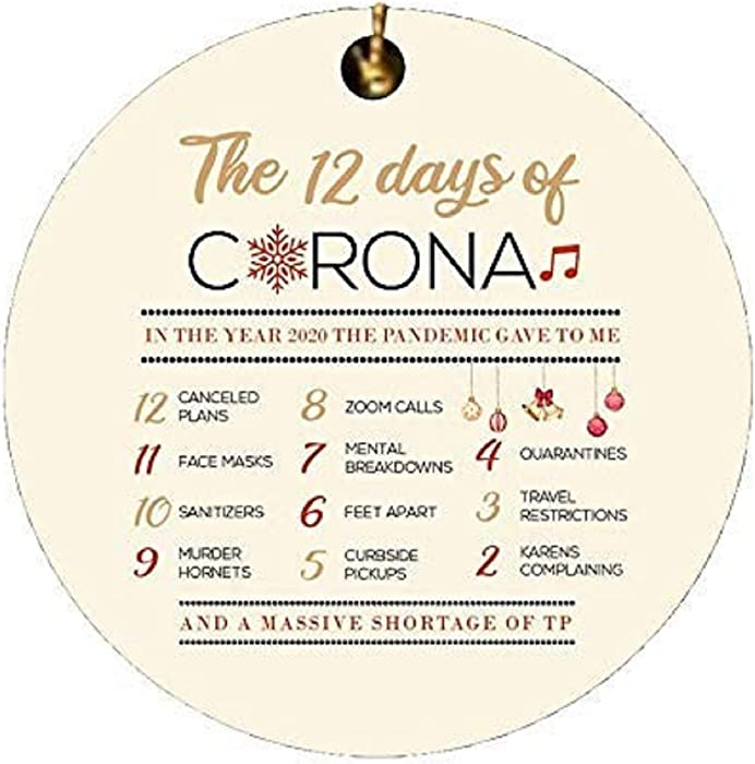 12 Days of Corona Christmas Ornament 2020 Christmas Ornament Quarantine Funny Christmas Decorations Clearance Ornaments for Christmas Trees Elegant Xmas Tree Hanging Ornaments Pendants