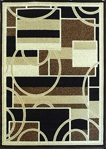 Americana Modern Area Rug Brown Beige Black Contemporary Design 115 6 Feet X 9 Feet
