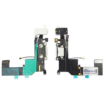 Conector de carga prémium para iPhone 5S de ToKa-Versand; color blanco; conexión de audio para micrófono, antena y auriculares