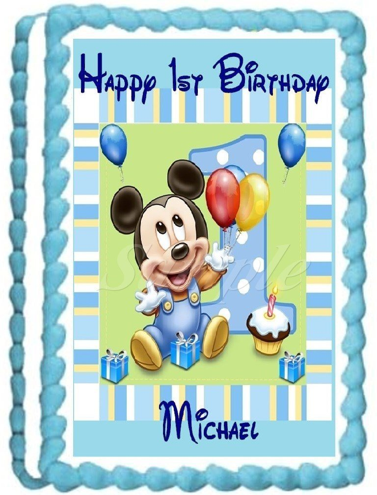 Amazon Baby Mickey 1st Birthday Edible Frosting Sheet Cake