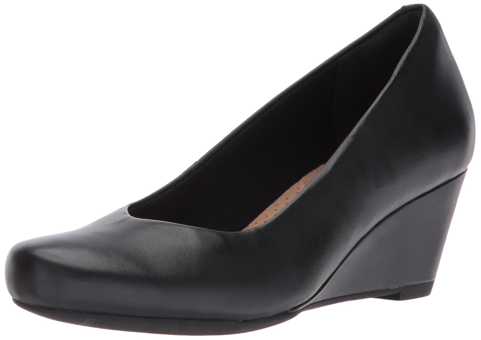 CLARKS Women's Flores Tulip Wedge Pump,Black Leather,8 M US