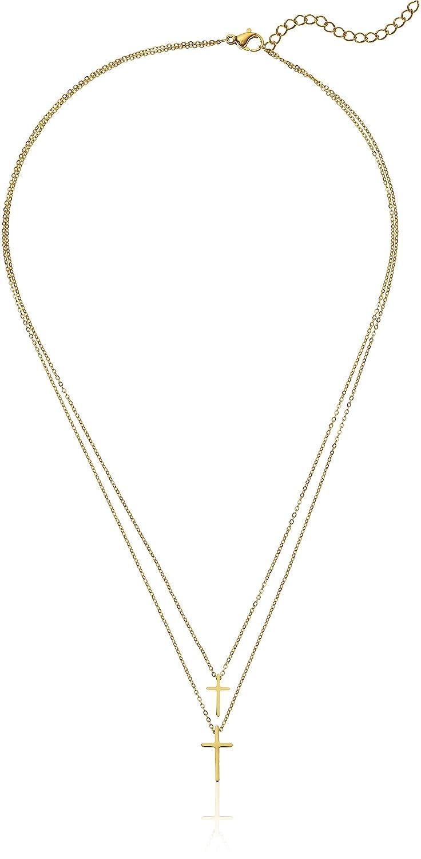 ELYA Jewelry Womens Polished Cross Stainless Steel Y Shaped Necklace, Gold, One Size ELYA Jewelry Child Code WCJ-N4050