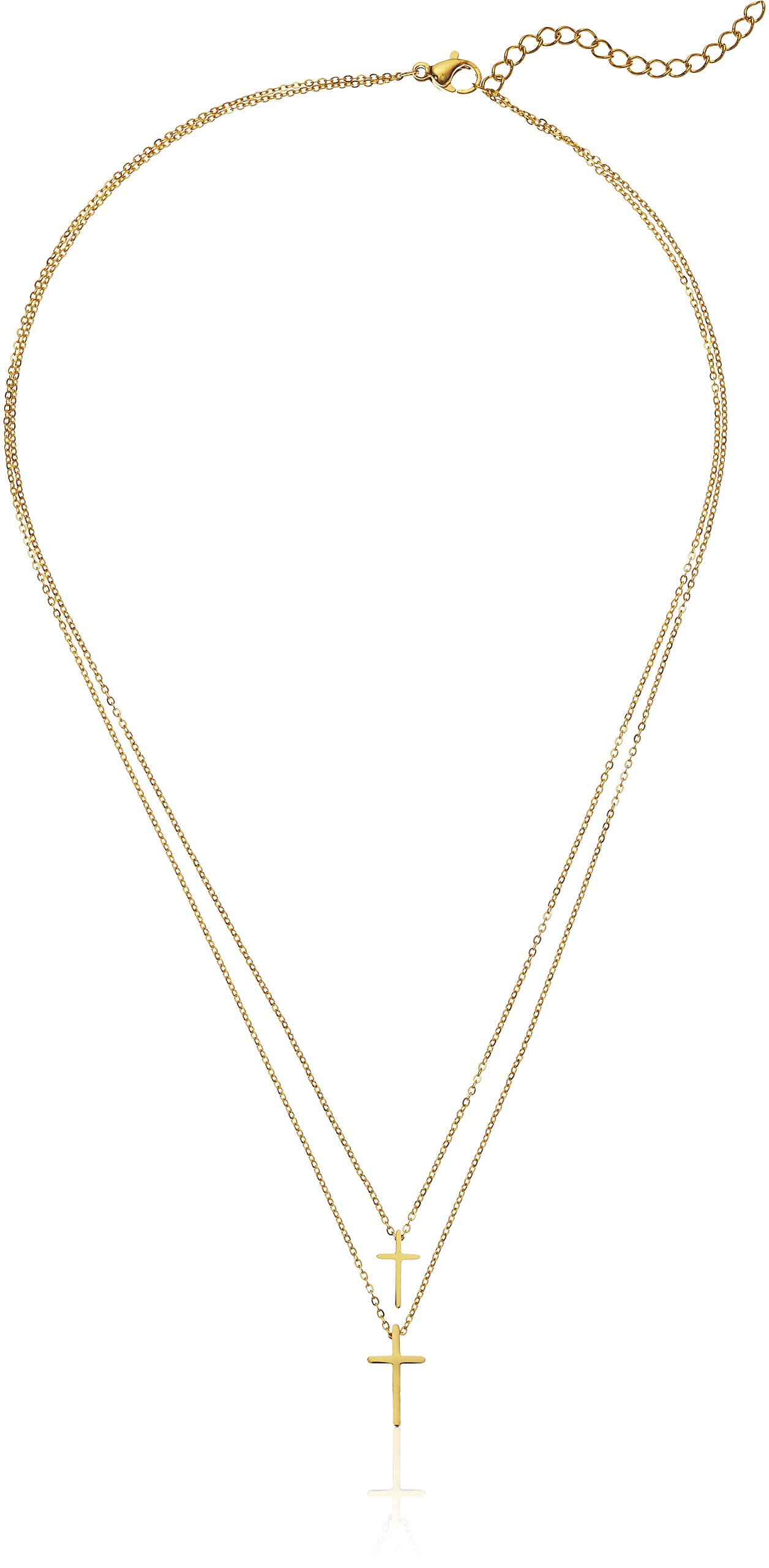 ELYA Jewelry Womens Polished Cross Stainless Steel Y Shaped Necklace, Gold, One Size