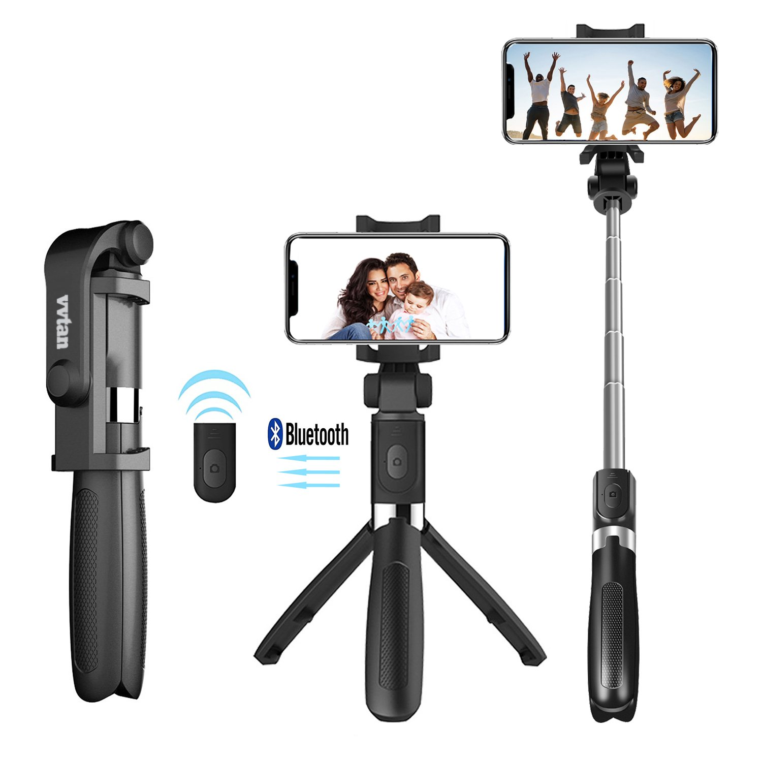 Portable Lightweight Selfie Stick, Bluetooth Selfie Stick Tripod with Removable Wireless Remote Shutter, Extendable Mini Handheld Selfie Stick for iPhone, Android Samsung,Huawei,LG,More