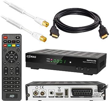 Comag DKR60 HD DVB-C - Receptor de televisión por cable (PVR, cable HDMI y cable de antena de 1 m con filtro de corriente, Full HD, HDTV, HDMI, SCART, ...