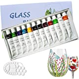Magicdo Stained Glass Paint with Palette,Transparent Glass Window Paint Acrylic Enamel Paint Set Great for Wine Bottle…