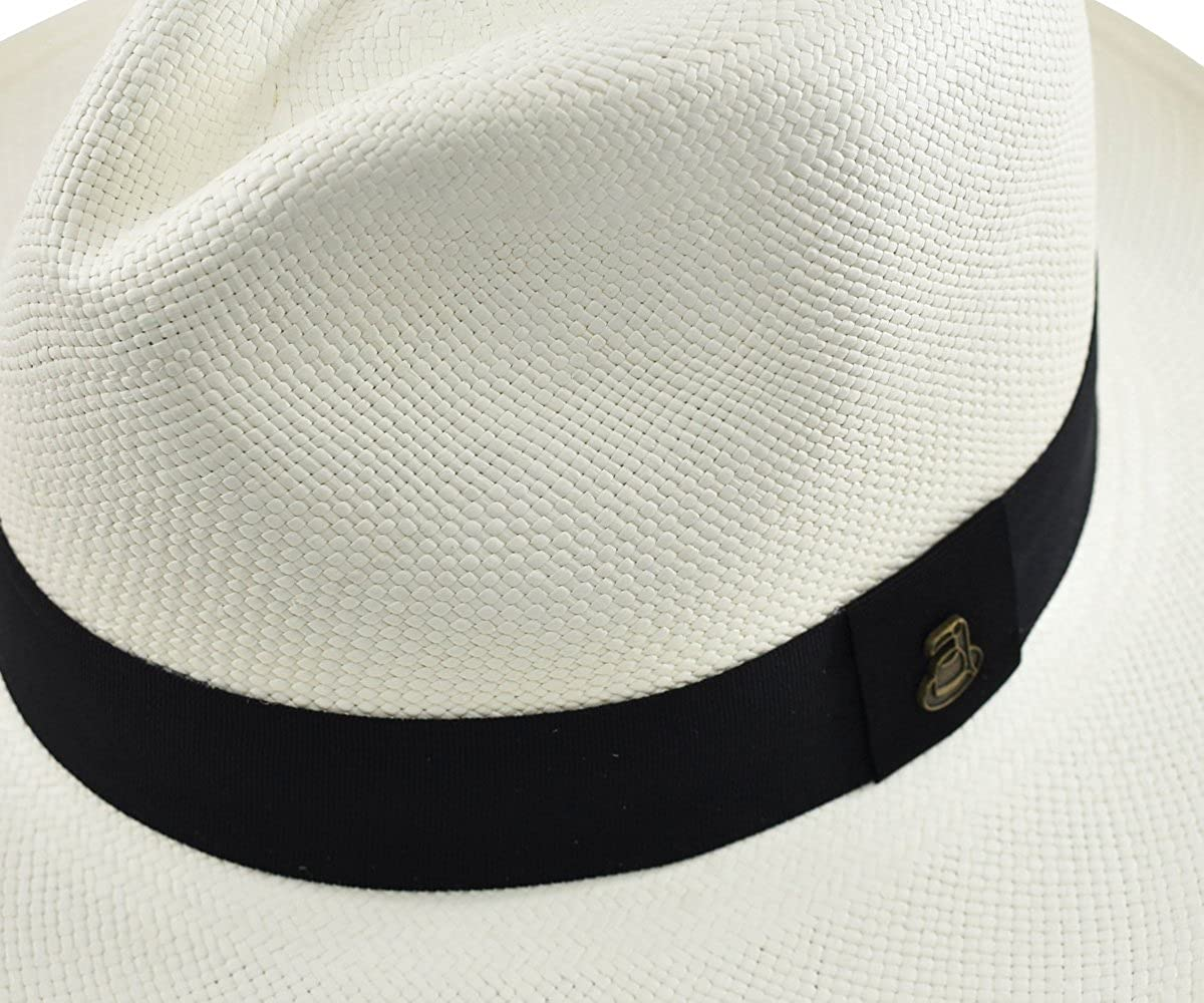 4c376c757b73 Original Panama Hat - White Classic Fedora - Black Band - Toquilla Straw -  Handwoven in Ecuador by Ecua-Andino at Amazon Men's Clothing store
